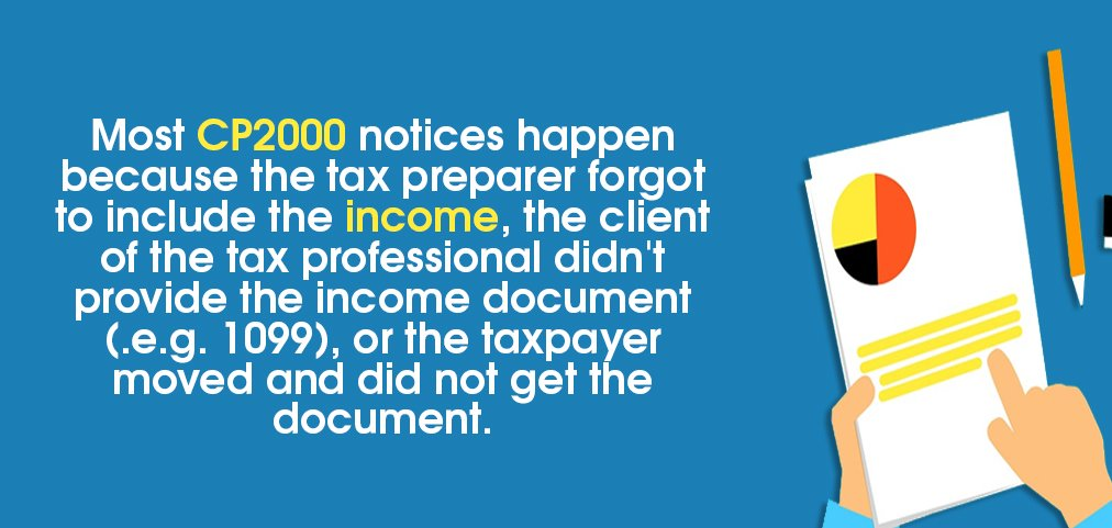 Image saying: Most CP2000 notices happen because the tax preparer forgot to include the income, the client of the tax professional didn't provide the income document (.e.g. 1099), or the taxpayer moved and did not get the document
